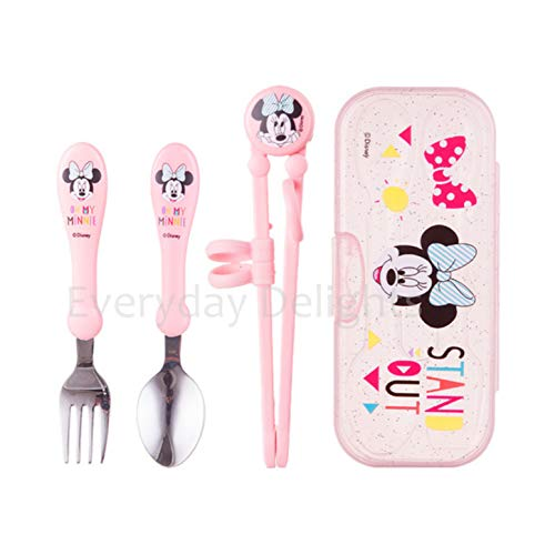 Disney Minnie Pink Flatware Tableware Cutlery Utensil Set for Right-handed Kids Children – Stainless Steel Fork Spoon Training Chopsticks Portable Case, 4 pieces