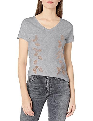 Hanes womens Short Sleeve Graphic V-neck Tee T Shirt, Light Steel1,...