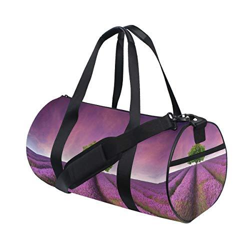 Eslifey Sporttasche mit Lavendelfeld, Sonnenuntergang, Landschaft, für Damen und Herren