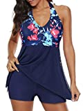 Century Star Womens Athletic One Piece Swimwear Tummy Control Plus Size Swimdress Long Torso Tankini Swimsuit Bathing Suits Red Blue Floral 16-18