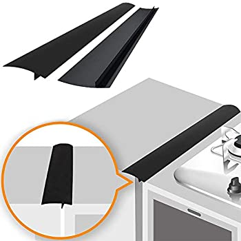 Linda s Silicone Stove Gap Covers  2 Pack  Heat Resistant Oven Gap Filler Seals Gaps Between Stovetop and Counter Easy to Clean  21 Inches Black