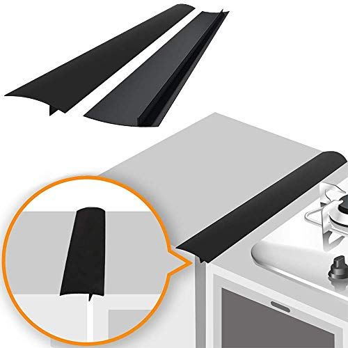 Linda's Silicone Stove Gap Covers (2 Pack), Heat Resistant Oven Gap Filler Seals Gaps Between Stovetop and Counter, Easy to Clean (21 Inches, Black)