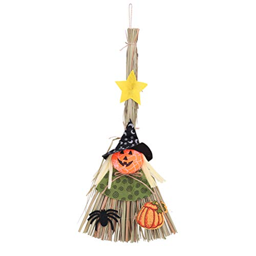 BESTOYARD Hexe Besen Handwerk Stroh Besen für Bar Halloween Spukhaus Dekoration (Schwarzer Hut)