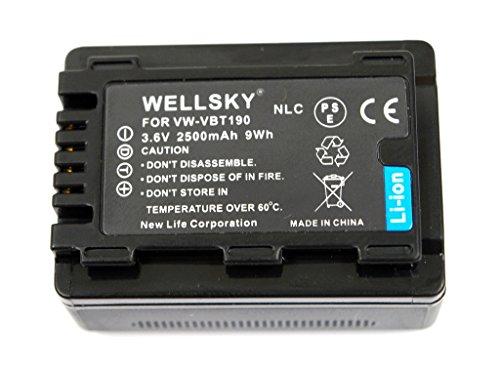 WELLSKY VW-VBT190 VW-VBT190-K 2500mAh 互換バッテリー [ 純正充電器で充電可能 残量表示可能 純正品と同じよう使用可能 ] パナソニック HC-V210M HC-V230M HC-V330M HC-V360M HC-V480M HC-V520M HC-V550M HC-V620M HC-V720M HC-V750M HC-VX980M HC-W570M HC-W580M HC-W850M HC-W870M HC-WX970M HC-W585M HC-WX990M HC-WXF990M HC-WX995M HC-VX985M HC-WX1M HC-WZX1M HC-VX1M HC-VZX1M HC-WXF1M HC-WZXF1M HC-VX990M HC-VZX990M HC-VX992M HC-VZX992M HC-WX2M HC-WZX2M HC-VX2M HC-VZX2M HC-W590M HC-WZ590M