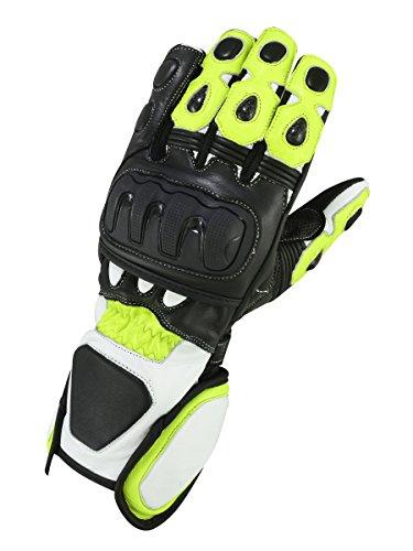 Guantes de piel para moto GP Circuit verde neón, amarillo (M)