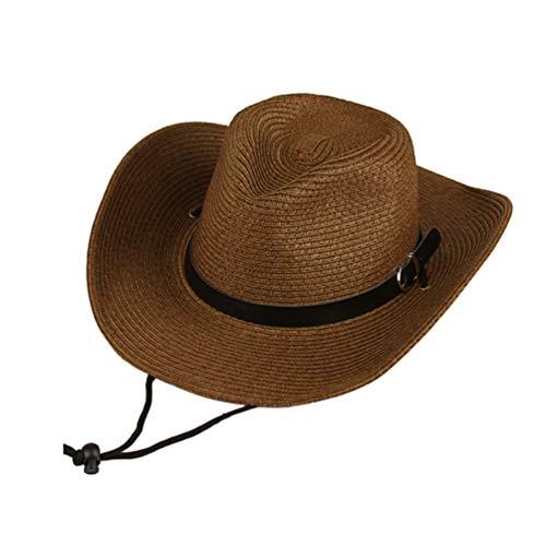 LIOOBO Sombrero de Paja Sombrero de Vaquero Occidental Gorra de Sol de ala Ancha para Hombres Tamaño General