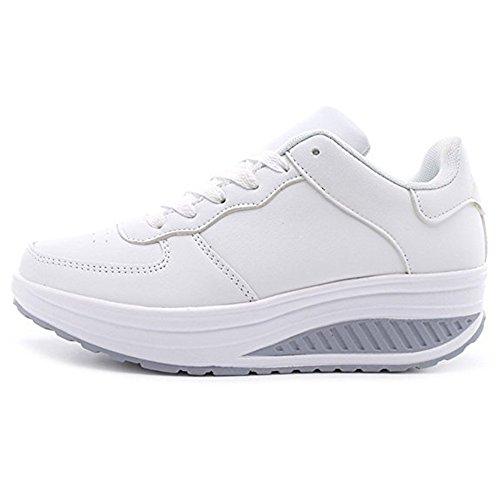 Sneakers Donna Scarpe Fitness Dimagranti Outdoor Sportive Anti Scivolo (Bianco/Etichetta 37)