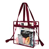BAGAIL NFL and PGA Stadium Approved Clear Tote Bag with Zipper Closure Crossbody Messenger Shoulder Bag with Adjustable Strap(12 Inch X 12 Inch X 6 Inch,Burgundy)