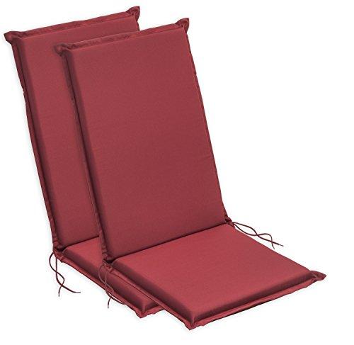 sleepling 193927 Set di 2 Cuscini per Sedia con Schienale Alto da Giardino, 120 x 50 x 6 cm, Rosso