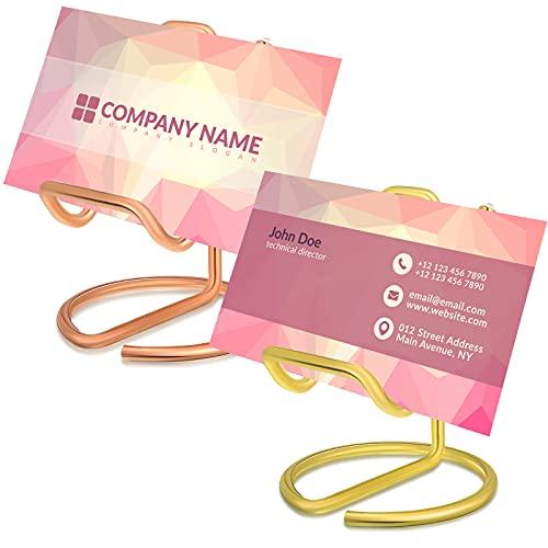 2 Pieces Business Card Holder Cute Metal Business Card Display Holder Stand Office Desktop Business Name Card Holder for Desk (Gold,Rose Gold)