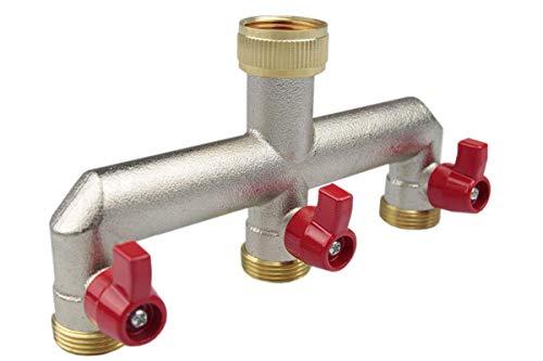 BFG 3-Wege-Verteiler mit 3/4-Zoll-Hahn, Messing, mit Absperrkugelhähnen, für Wasser, Adapter, Ventil, vernickelt BR-3132