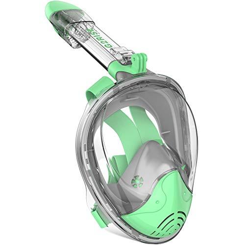 G2RISE Máscara de Buceo, Máscara de Snorkel de Cara Completa 180 Vista Panorámica con Montaje de Snorkel Desmontable, Diseño Antiniebla y Plegable para Adultos y Niños