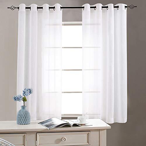 TOPICK Sheer Vorhang mit Ösen Halb Transparent Gardinen 2 Stücke Gaze paarig Fensterschal Vorhänge, Weiß, 130 cm x 145 cm (H x B)