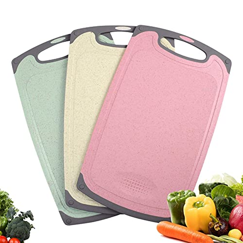 Haomacro Chopping Boards Set, Multicolor Wheat Straw Kitchen Cutting Boards,Cook Supplies Grind Garlic Ginger,Drip Juice Groove