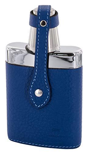 Beier Travel Companion - Taschenflasche aus Glas mit Becher und Lederbezug Kobalt 150 ml