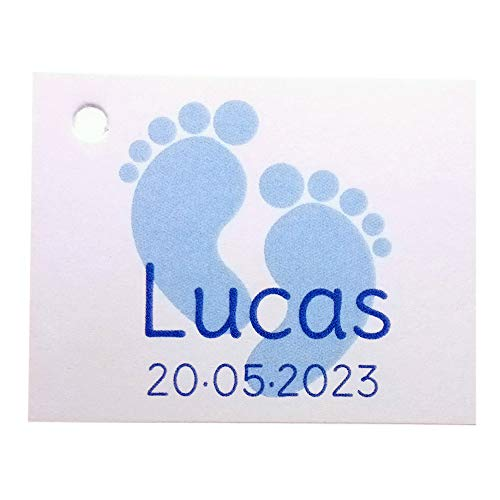 Etiqueta para detalle de Bautizo o Baby Shower huellas color azul. Pack 25 udes.
