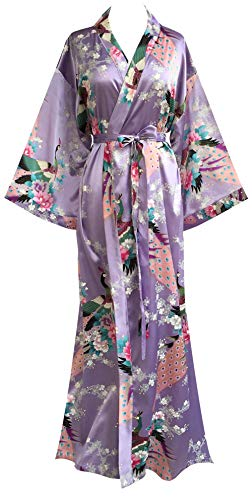 JANA JIRA Women's Kimono Robe Long Robes with Peacock and Blossoms Printed 1920s Kimono Nightgown 2XL/3XL, Lavender-E01