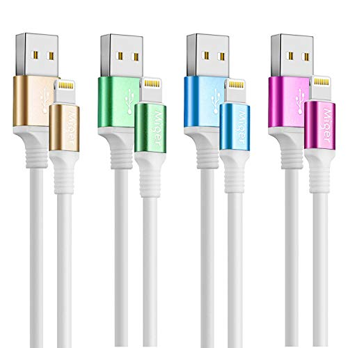Miger [MFi Certified ] Charging Cable,4Pack 4Ft/1.2m 8 Connector to USB Cable & Sync Charge Data Cable Compatible with iPhone X,8,8Plus,7,7Plus,6S,6Plus,SE,5S,5,iPad,iPod Nano 7