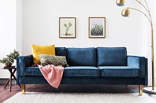 Edloe Finch Midcentury Modern Lexington Blue Velvet Sofa, 87'