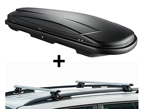 Dachbox VDPJUXT400 400Ltr schwarz abschließbar + Dachträger CRV120 kompatibel mit Toyota Avensis Verso (5 Türer) 2001-2006