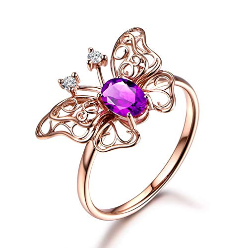 Adokiss Jewellery Sterling Silver Ring for Women 925, Hollow Butterfly Oval Purple Cubic Zirconia with 2 Round CZ Engagement Ring Band for Her, Rose Gold, Size Q 1/2