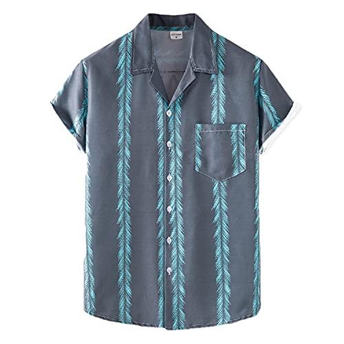 Hawaiana Camisa Hombre Verano Cuello V Ajuste Regular Hombre Camiseta Moda Estampado Manga Corta Playa Shirt Botón Placket Cuello Kent Camisa Transpirable Deportiva Shirt XH75 XL