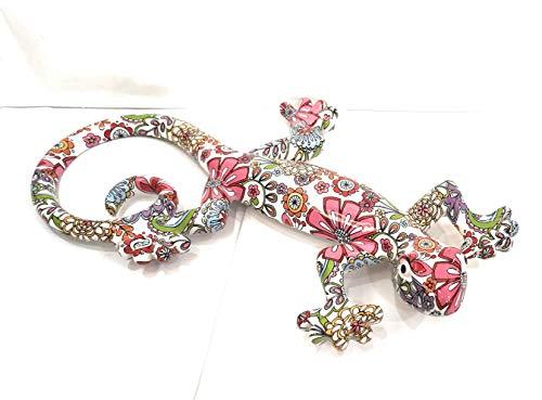 Pec as de corazón, decoración de pared, salamandra 36 cm, fondo blanco, diseño de flores multicolores en resina