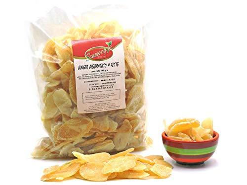 Zenzero disidratato a fette - pacchetto da 1 kg - zucchero di canna - senza zucchero cristallizzato - ginger di alta qualità - frutta disidratata - snack - candita - SORRENTINO Fruttaseccaesalute
