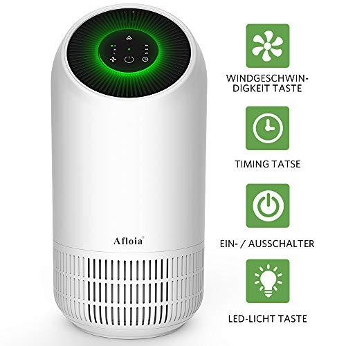 Afloia Luftreiniger Air Purifier mit HEPA-Kombifilter und Aktivkohlefilter 4-Stufen-Filterung für 99,9% Timing LED Nachtlicht, Luftreinigungsgerät perfekt für Allergiker und Raucher