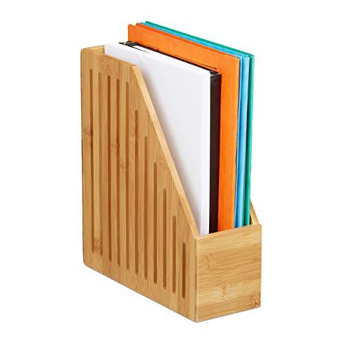 Relaxdays Stehsammler Bambus, A4, Zeitschriften & Dokumente, Büro, Schreibtisch, Stehordner, HBT: 30x10x26,5 cm, Natur, 1 Stück