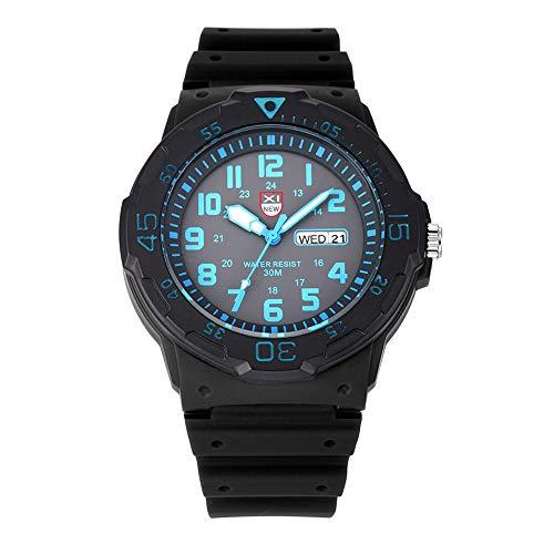 DAZHE Militäruhren Quarz Armbanduhren, XINEW Uhren Luxusmarke Herren Gummiband Wasserdichtes Datum (Color : 4)