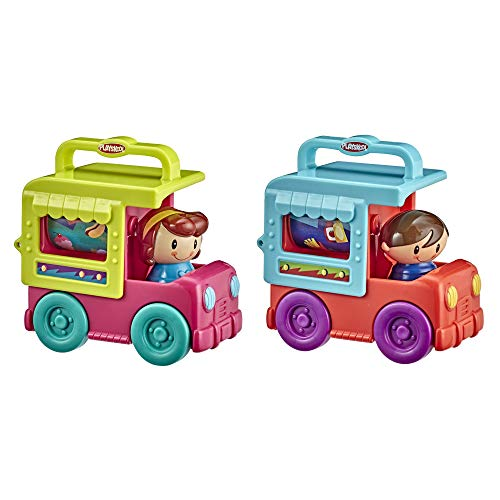 Playskool Fold 'n Roll Trucks Activity Toy Bundle of 2 Vehicles for Toddlers 12 Months and Up, Food Truck and Ice Cream Truck Themes with 1 of Each (Amazon Exclusive)
