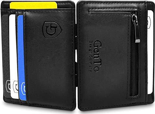 GenTo® Vegas Magic Wallet - Das Original - TÜV geprüft - Dünne Geldbörse mit Münzfach - Geschenk für Herren mit Geschenkbox - Smarter Geldbeutel - Slim Portemonnaie (schwarz - glatt)