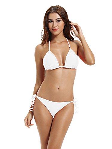 zeraca Women's Tie Side Pantie Triangle Bikini Set (XS2, White)
