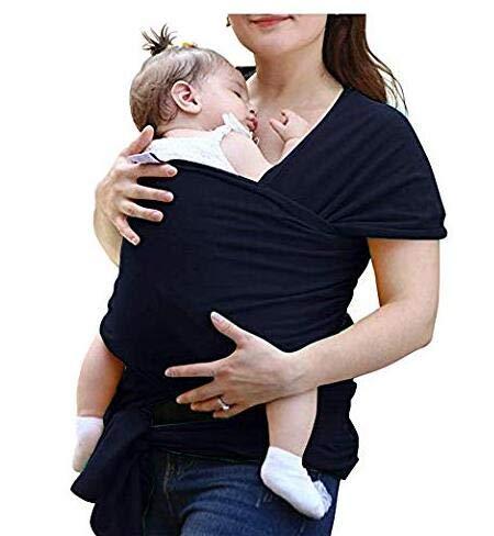 Pañuelo portabebés elástico para recién nacidos y niños pequeños, portabebés, portabebés, portabebés, portabebés para bebé, recién nacidos, dentro de 16 kg de VOARGE negro Negro
