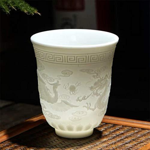 BXing cerámica dragón Phoenix Taza de té Zen Jade Taza de Agua de Porcelana Creativa en Relieve pequeño Cuenco de té Regalos de cumpleaños Taza Vasos