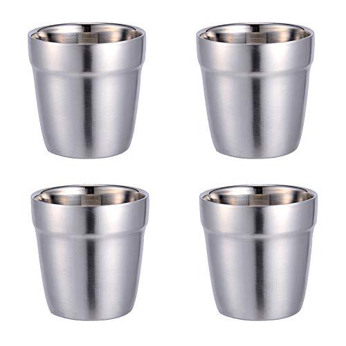 TAMUME 180ml Edelstahl Mini Becher Set von 4 Haltbare Becher für Kinder Stapelbarer Becher Bier und Cocktailbecher