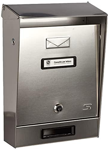 Silmec 10-001 Cassetta postale tradizionale singola per esterno, Inox, Dim.(La.xH.xPr.) 220x325x75/100mm