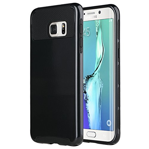 ULAK S6 Edge Plus Case, Galaxy S6 Edge Plus Case, Slim Dual Layer Protection Scratch Resistant Hard Back Cover Shock Absorbent TPU Bumper Case for Galaxy S6 Edge Plus Black/Black