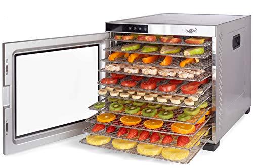Deshidratador Alimentos Acero Inoxidable • Temporizador 24 horas • Temperatura: 35 a 75ºC + EXTRA: 1x Malla fina y 1x Bandeja Antigoteo • Vita5 Nobel Pro (10 Bandejas)