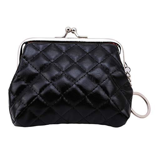 Eleusine Mini Black Femmes Mode PU Lingge Portefeuille Clés Sac Poche Boucle Porte-Monnaie