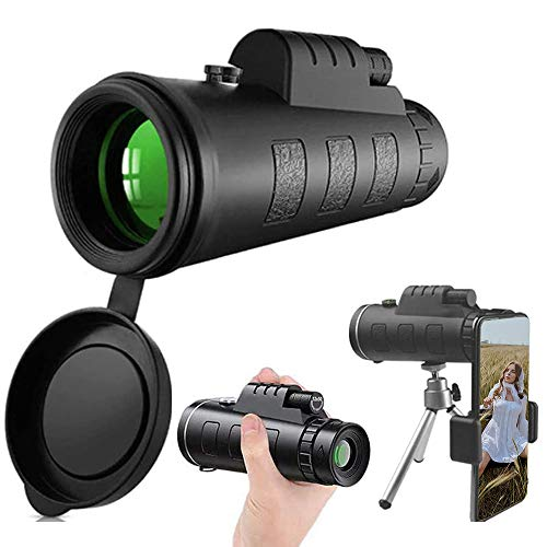 Monocular Telescope, 40x60 High Power HD Monocular with Smartphone Holder Tripod for Adults Waterproof Night Vision with Durable and Clear Prism Dual Focus for Bird Watching, Camping, Travelling