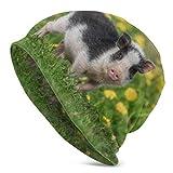 Hdadwy Mini Cochon Marchant sur Les Champs Bonnets en Tricot pour Enfants Bonnets tricotés pour garçons Bonnet Enfants Bonnets en Tricot pour Filles imprimé en 3D Adulte Comfortbale Doux