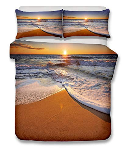 AIKIBELL 3D bedding-digital printing-seaside in the sunset-bedding set-duvet cover + pillowcase 2-3 bed covers-teenagers-Christmas gifts-175×220cm