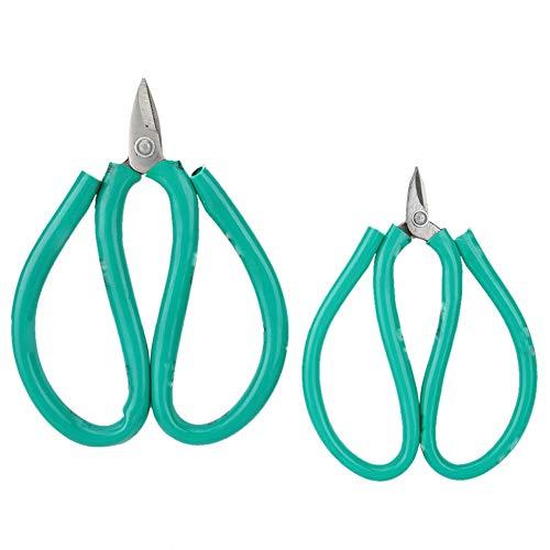 Tijeras de 2 piezas: boca corta de usos múltiples, mango verde, tijeras de acero, herramientas de grabado de bricolaje, tijeras portátiles cortas, boca de corte, herramienta de joyería de bricolaje