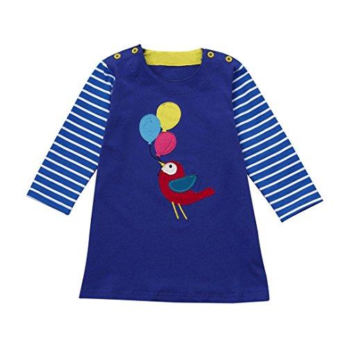 JERFER Baby Kleinkind-Mädchen Langarm Herbst Karikatur Streifen Prinzessin Kleid 1-6T (5T, Blau)