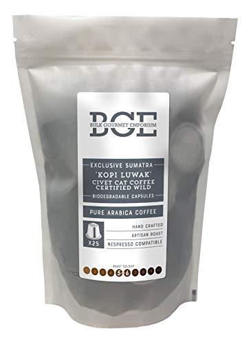 Bulk Gourmet Emporium - Cápsulas de café Kopi Luwak de Sumatra procedente de jinetas en libertad, biodegradables y compatibles con cafeteras Nespresso*, en bolsa reciclable (paquete de 25)