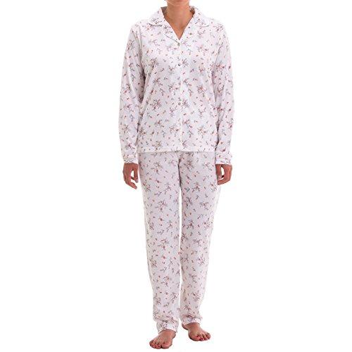 Zeitlos Damen Pyjama mit Blumen Druck und Knopfleiste (XXL, Weiß)