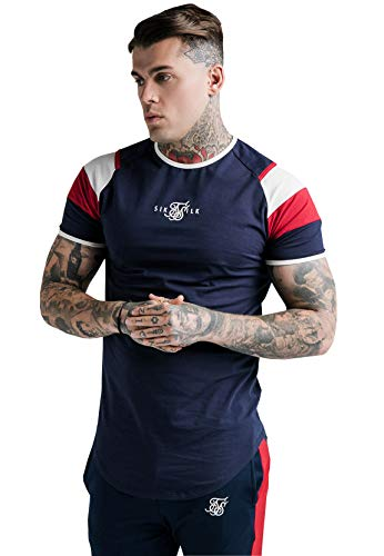 Sik Silk Camiseta para hombre S/S Retro Sprint Gym Tee SS-17755 azul marino rojo/blanco oscuro azul XS