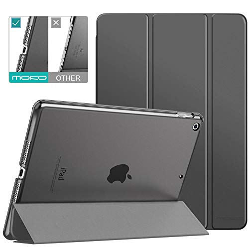 MoKo Case Fit New iPad 8th Gen 2020 / 7th Generation 2019, iPad 10.2 Case - Slim Lightweight Shell Stand Cover with Translucent Frosted Back Protector for iPad 10.2', Space Gray(Auto Wake/Sleep)